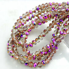 Fashion Colors Rondelle Faceted Crystal Glass Loose Spacer Beads 3mm 4mm 6mm 8mm
