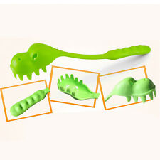 Dinosaur Pattern Pasta Serving Dining Spoon Fork Crocodile Spaghetti Green