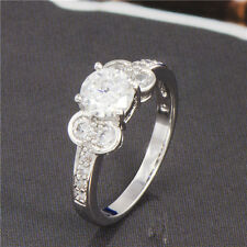 Lovely 18K White Gold Filled crystal Crystal Womens Band Ring,Size 6,7,8