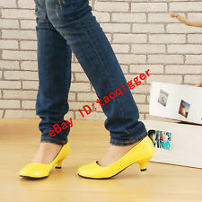 Sweet Womens Patent Leather Kitten Heel Casual Shoes OL Pull On Shoes Plus Size