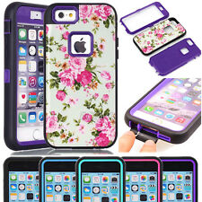 New Armor Heavy Duty Glossy Peony Flower Pattern Skin Case For iPhone & Samsung