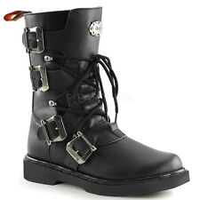 Demonia Defiant-306 Buckle Combat Boots - Gothic,Goth,Punk,Black,Boots,Buckle