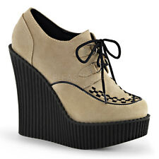 Demonia Creeper-302 Cream Vegan Suede Wedge Shoes - Gothic,Goth,Punk,Cream,Wedge