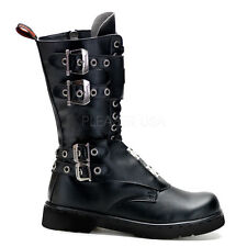 Demonia Defiant-302 Buckle Combat Boots - Gothic,Goth,Punk,Black,Boots,Buckle