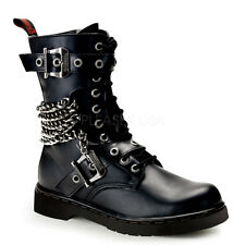 Demonia Defiant-204 Chain Combat Boots - Gothic,Goth,Punk,Black,Boots,Buckle