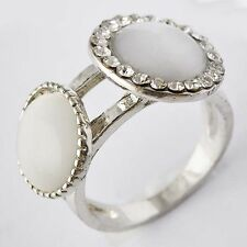 Fashion Lucky Womens White GF Clear CZ & Opal Band Ring Size 6-8 10