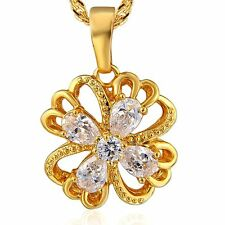 Lucky 9K Solid Gold Filled CZ Clover Pendant Chain 2 Colour Necklace
