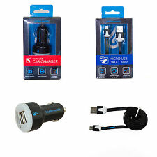 Blufire Mobile Dual USB Car Charger + Micro USB Cable Bundle Galaxy S Phone