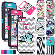 Rugged Glossy Pattern Skin Heavy Duty Hybrid Combo Armor Case Cover For iPhone