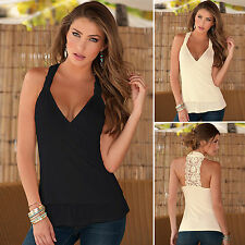 Womens Sexy V Neck Lace Sleeveless Backless Vest Tank Tops Summer T-shirt Blouse