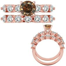 0.35 Ct Champagne Diamond Seven Stone Solitaire Design Ring + Band 14K Rose Gold