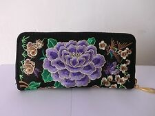 Wallet Hand Embroidered Clutch Hill Tribe Fabric Fair Trade Thailand