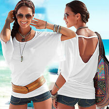 Sexy Women Summer Batwing Sleeve Backless Loose Tee Shirt Lady Casual Top Blouse