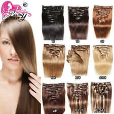 "8pcs Straight Clip in Hair Extensions Full Head 80g 100% Remy Human Hair 18""-24"""