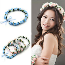 Boho Beach Party Hair Band Rose Floral Bride Garland Wreath Hair Headband Tiara