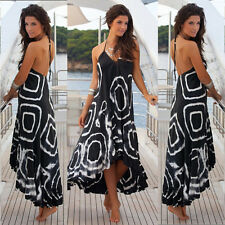 WOMENS IRREGULAR BOHO MAXI LONG DRESS LADIES EVENING PARTY SEXY DRESS SIZE 8-16