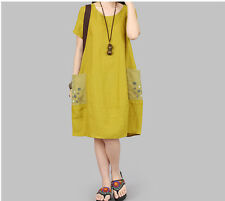 Women Lady Flax Summer Leisure Linen Cotton Loose Dress Short sleeve Plus Size