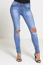 New Womens Ladies Stretch Faded  Slim Fit Skinny Denim Jeans Size UK 6 8 12 16