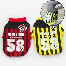 Pet Dog Cat Puppy Football Soccer Sports Suit Clothes T-shirt Apparel Costumes