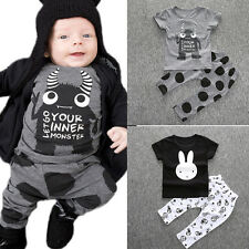 Toddler Baby Outfits T Shirt Tops Floral Pants Trousers Cartoon Kids Infant BGO