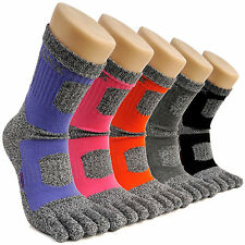 5 Pairs Women's Crew Sports Running Cycling Coolmax Cotton Five Finger Toe Socks