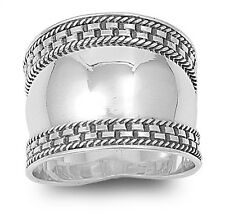 Concave Bali Ring, 925 Sterling Silver, Braided Asian Design, Comfort Fit, Sexy