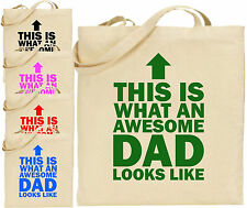 Awesome Dad Arrow Large Cotton Tote Shopping Bag Canvas Father Day Funny Gift
