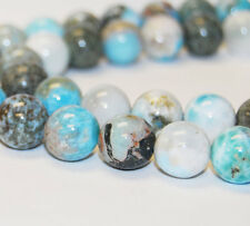 Natural Larimar Gemstone Smooth Round Loose Beads 15.5'' Long Size 6/8/10/12mm