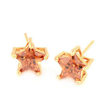 Gorgeous&Shiny Star 18K Gold Plated Cubic Zirconia Stud Earrings free shipping