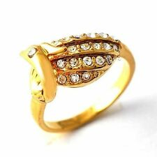 Womens Clear CZ Yellow Gold Filled Mystic cute Bird Shape Ring Size 6 7 8 9