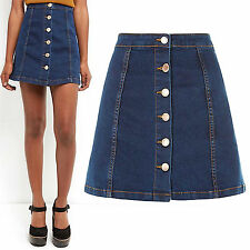 2016 WOMENS BLUE DENIM A LINE MINI SKIRT BUTTON FRONT JEANS LOOK LADIES SHORT