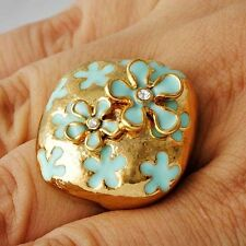 Vintage Womens Yellow Gold Filled CZ Blue Enamel Flower mystic Ring Size 7 9
