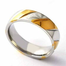 Womens Mens Stainless Steel Gold plated Carve Twill Band Ring Size 8-12