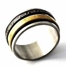 Vintage Mens Stainless Steel Gold Black Plating Spinner punk Ring Size 8-12