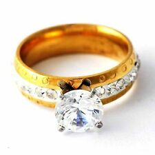 Eternity Womens Yellow Gold Filled Cear CZ engagement Band Ring Size 7-10