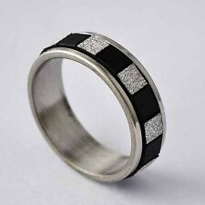Womens Stainless Steel Black White Square Piece Spinner love Band Ring Size 6-9