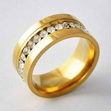 Vintage Interval CZ Yellow Stainless Steel Womens promise Band Ring Size 6-9