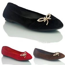 NEW WOMENS LADIES FAUX SUEDE FLAT PUMPS BALLERINA DOLLY SHOES SIZE 3 4 5 6 7 8 9