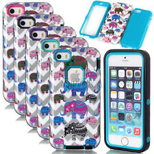 Armor High Impact Glossy Colorful Elephant Hybrid Case Skin For iPhone 5S SE 5C