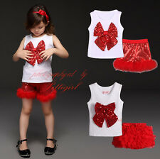 Baby Girls Party Outfits Toddler Kids Sequinned Bow Vest Top Skirts/Shorts Set