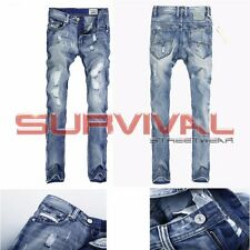 Mens Designer Ripped Jeans Straight Leg Light Blue New Size 30 32 33 34 36 38