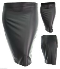 Sexy new Black pvc wet look full elastic waist stretch pencil skirt plus size