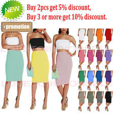 New Womens Polyester Stretch Pencil slim Casual Work Basic Solid Knee Skirts S-L