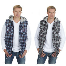 Mens Magneto Zip Up Builders Work Lumberjack Hooded Fleece Gilet Bodywarmer