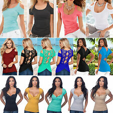 Fashion Women Plus Size Sexy Short Sleeve Loose T-shirt Summer Casual Blouse Top