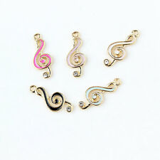 Gold Tone Enamel Music Notes Rhinestone Alloy Charms Pendants DIY Making 22x9mm