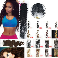 "20""Body Wavy&curly Loop Micro Rings Beads 100% Remy Human Hair Extensions 100S"