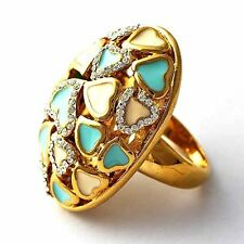 Womens Heart Blue White Enamel Yellow GF Cocktail vintage Ring Size 7 8 9