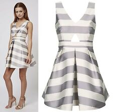 TOPSHOP Petite Cut-Out Stripe Prom Dress Size 4 to 14