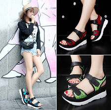 New Fashion Girl's summer Sandals peep toe Flats shoes Womens beach shoes sweet